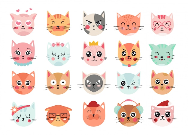 Volti di gatti carini. emoticon teste di gatto, espressioni del viso di gattino. illustrazione di gatto felice sorridente, triste, arrabbiato e strizzatina d'occhio. set di sentimenti ed emozioni animali. personaggi dei cartoni animati emoji
