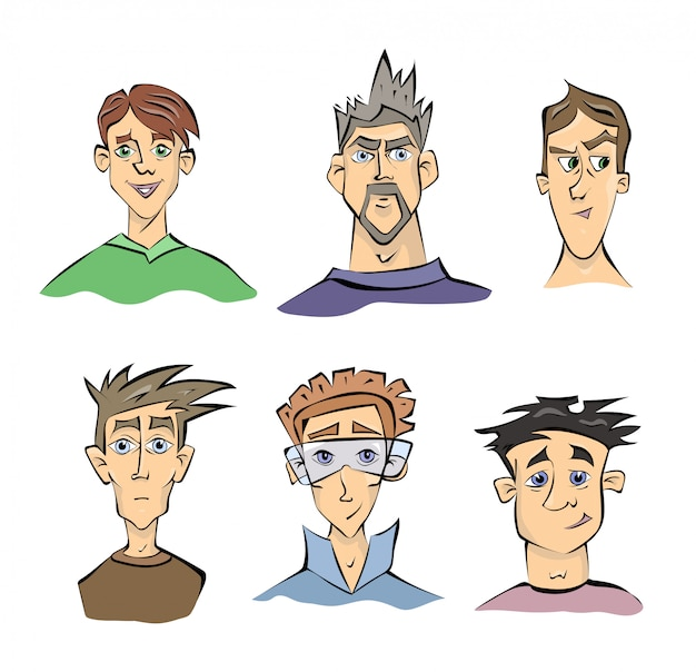Volti di giovani uomini con emozioni diverse. illustrazione ritratto, su sfondo bianco.