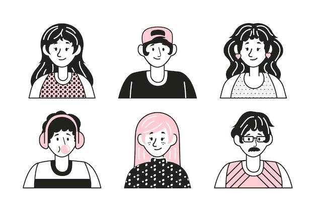 Volti diversi, espressioni felici avatar di persone