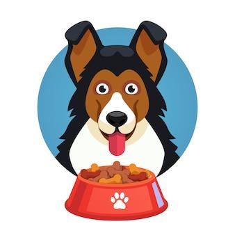 Volto dell'animale del cane con la ciotola rossa piena di alimento