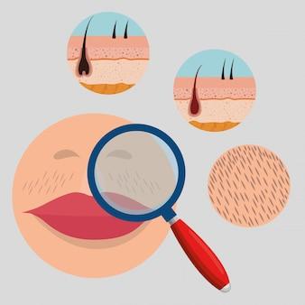 Volto di donna con elementi di depilazione