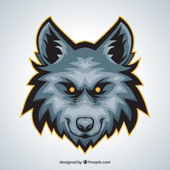 Volto di lupo con gli occhi gialli