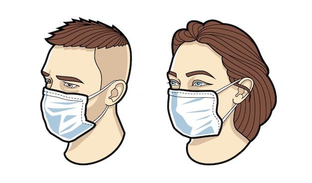 Volto di uomo e donna in set maschera medica