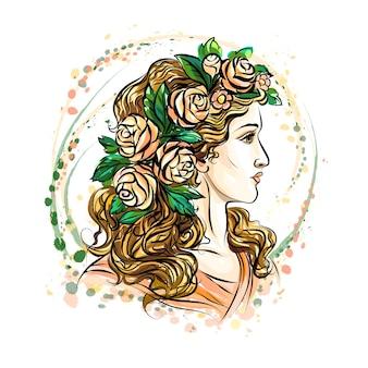 Volto disegnato a mano di una bella donna in una corona di fiori. ragazza carina con i capelli lunghi. schizzo. illustrazione.