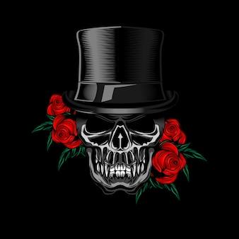Voodo skull hat rose vettoriale
