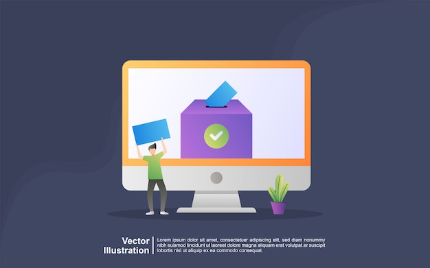 Voto ed elezione online di concetto dell'illustrazione. sistema di voto elettronico su internet