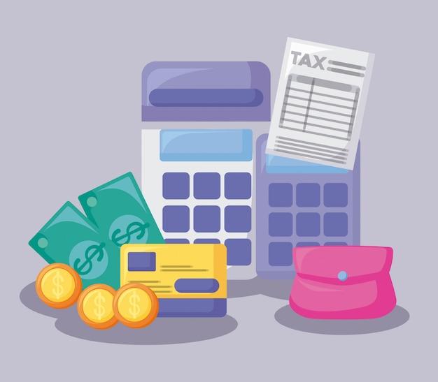 Voucher con economia e finanziaria con set di icone