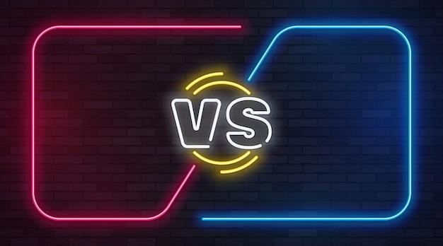Vs neon. contro il gioco di battaglia con cornici vuote al neon. duello di incontro di boxe, confronto di scorie