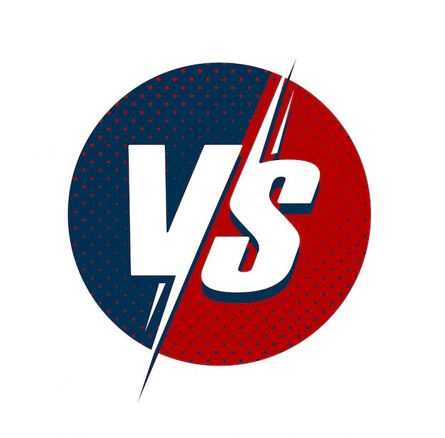 Vs o contro il logo del testo per il simbolo del fumetto piatto gioco di battaglia o combattimento