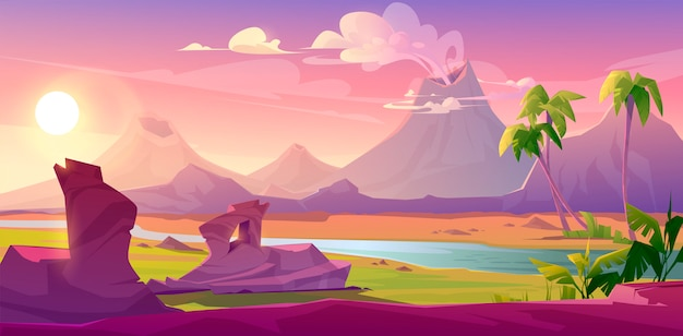 Vulcani fumanti, sfondo vulcanico dei cartoni animati