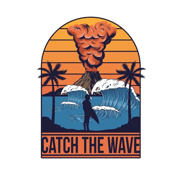 Vulcano attivo one man surfer grande oceano wave palm estate vista. illustrazione di stile di surf dell'isola delle hawaii.