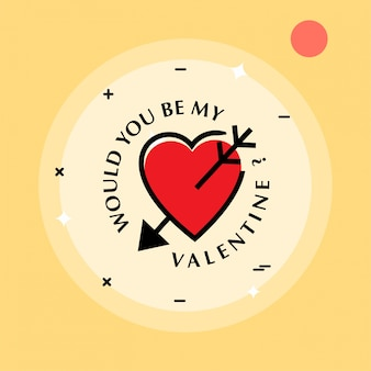 Vuoi essere il mio san valentino con sfondo giallo e cuore