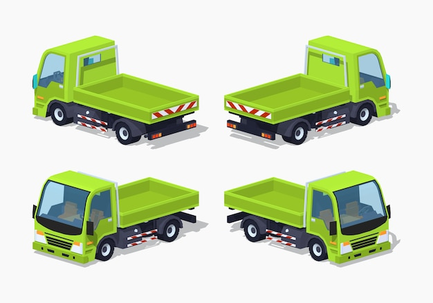 Vuoto camion isometrico lowpoly 3d verde