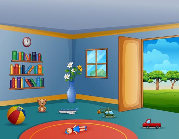 Vuoto soggiorno con i giocattoli disordinati per bambini