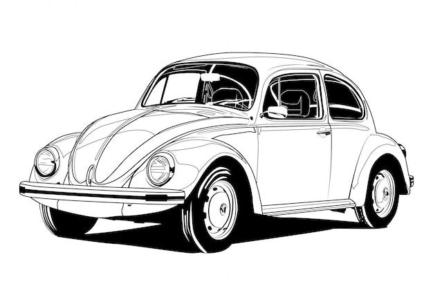 Vw beetle line art