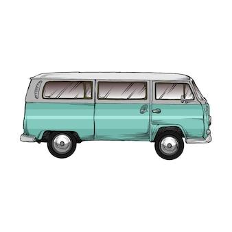 Vw kombi car in hand drawing