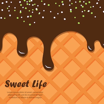 Wafer e cioccolato sullo sfondo