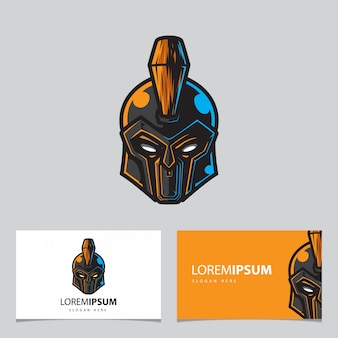 Warrior head mascot logo, modello di carta di nome