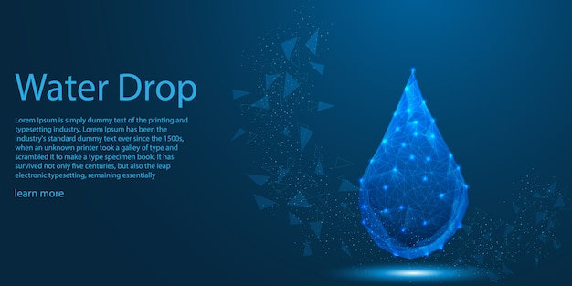 Water drop low poly concetto di tema eco.