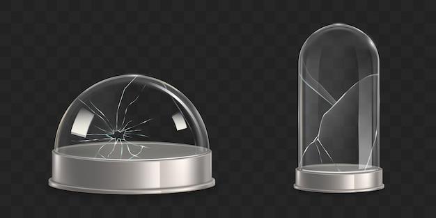 Waterglobe rotto, vettore realistico di vetro campana di vetro