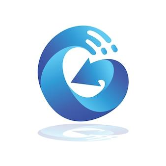 Wave letter g arrow logo, logo iniziale g