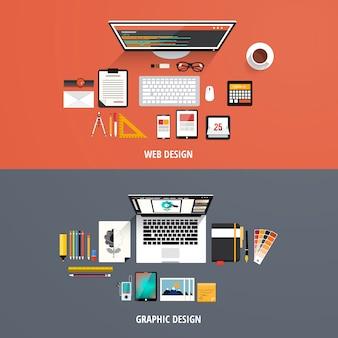 Web concept piatto e graphic design