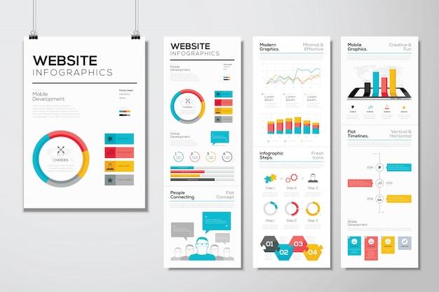 Web design piatto e infographics sito web elementi vettoriali aziendali