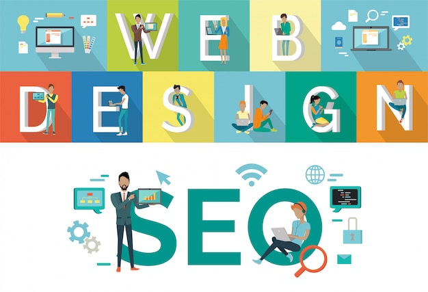 Web design, progettazione di stile piano di seo vector concept.