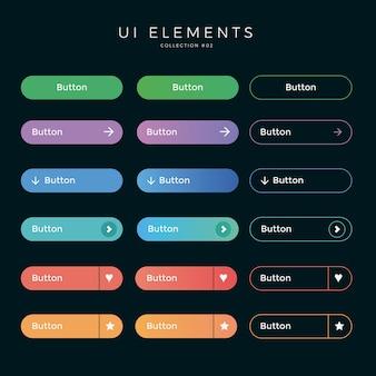 Web design pulsanti arrotondati dell'interfaccia utente