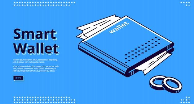 Web di pagina di destinazione isometrica portafoglio intelligente