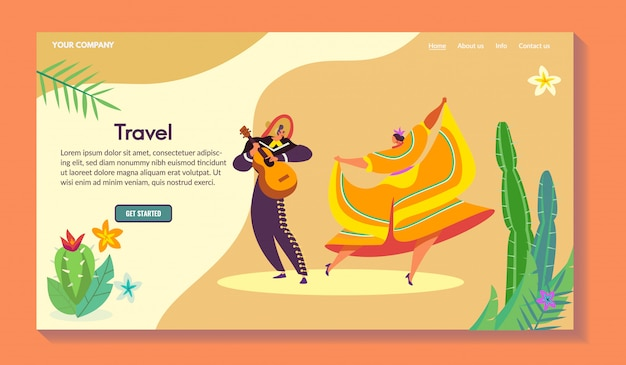 Web di vacanza del sudamerica, maschio del carattere con la chitarra, ballo femminile e tradizionale, illustrazione. per sito web.