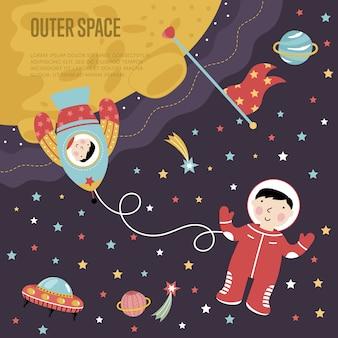 Web di vettore del fumetto dello spazio cosmico
