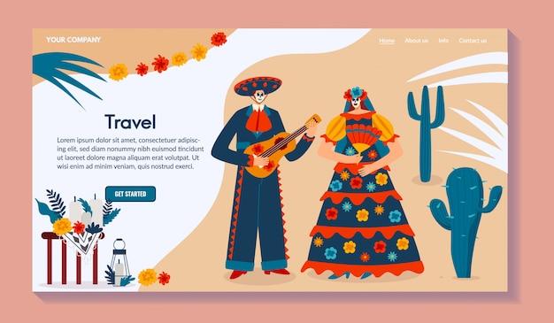 Web di viaggio messicano, personaggio maschile con la chitarra, femmina in costume tradizionale, illustrazione. per sito web.