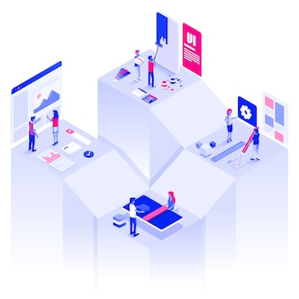 Web e sviluppo moderni dell'illustrazione isometrica di colore piano