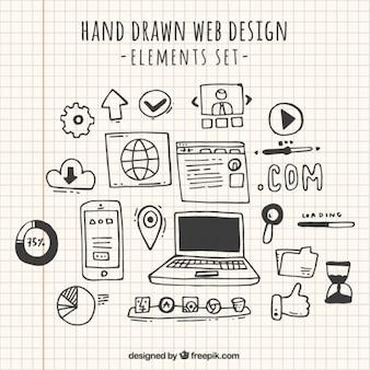 Web elemento raccolta doodles