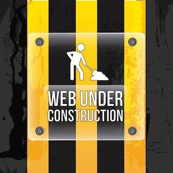 Web in costruzione su sfondo nero illustrazione vettoriale