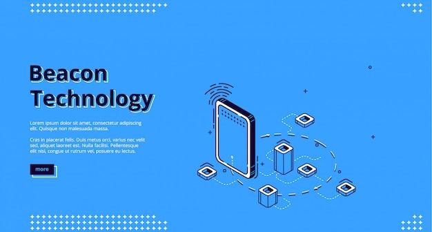 Web isometrico della tecnologia wireless beacon