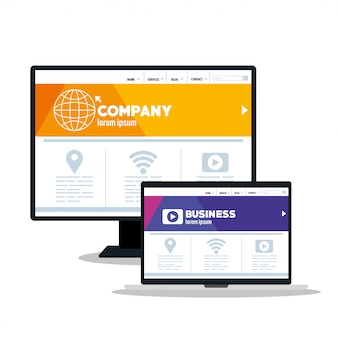 Web reattivo di mockup, sviluppo di siti web di concetto in computer e laptop