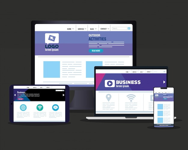 Web reattivo di mockup, sviluppo di siti web di concetto, in dispositivi elettronici