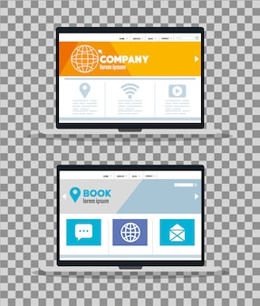 Web reattivo di mockup, sviluppo di siti web di concetto nei laptop