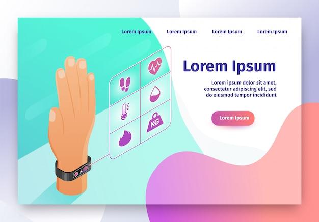 Web site isometrico di vettore del braccialetto indossabile di forma fisica