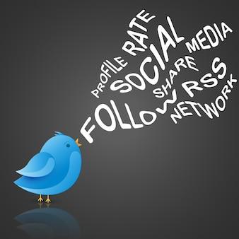Web sociale blu vettoriale disegno uccello