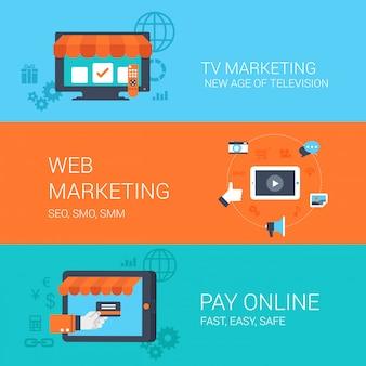 Web tv marketing illustrazioni di stile piatto concetti di pagamento online.