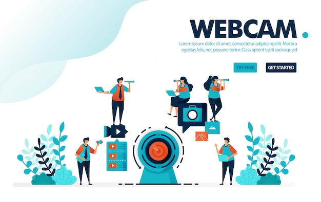 Webcam camera, le persone registrano utilizzando una webcam per streaming live, webinar e vlog.