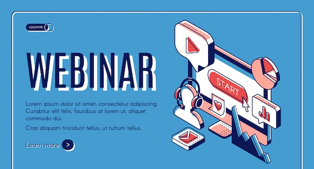 Webinar, conferenza, video seminario, banner di educazione online.