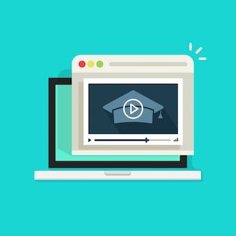 Webinar educativo online sul computer portatile con la rappresentazione del riproduttore video