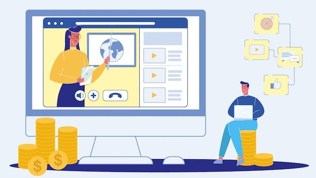 Webinar, live conference flat vector illustration