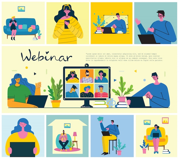 Webinar soluzione di business online. le persone usano la chat video su desktop e laptop per fare una conferenza. lavora in remoto da casa.