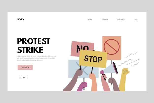 Webtemplate della pagina di destinazione dello sciopero di protesta