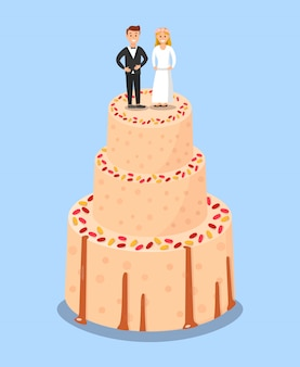 Wedding cake with bride and groom toppers poster.